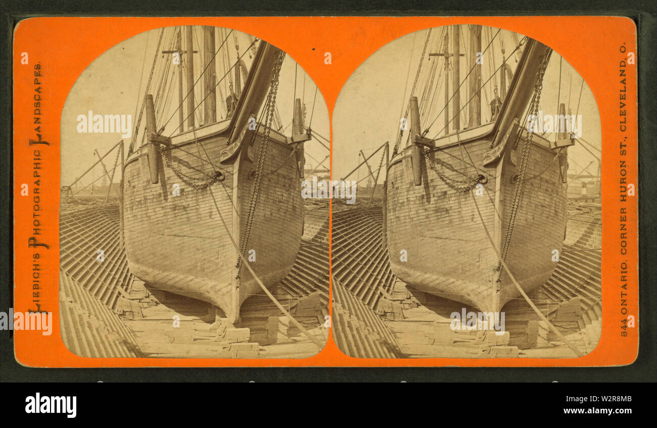 Boat in dry dock, by Liebich's Photographic Landscapes - Stock Image