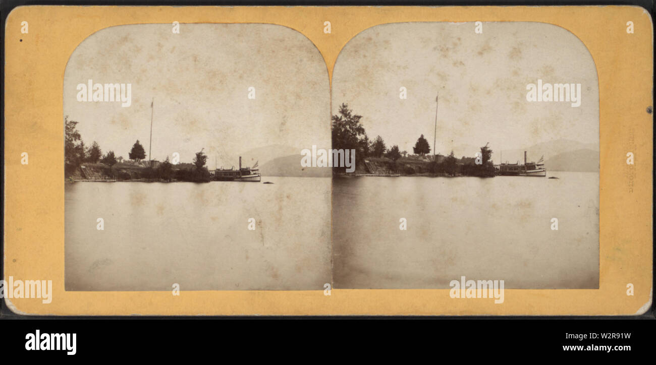Bolton Landing, Lake George, from Robert N Dennis collection of stereoscopic views - Stock Image