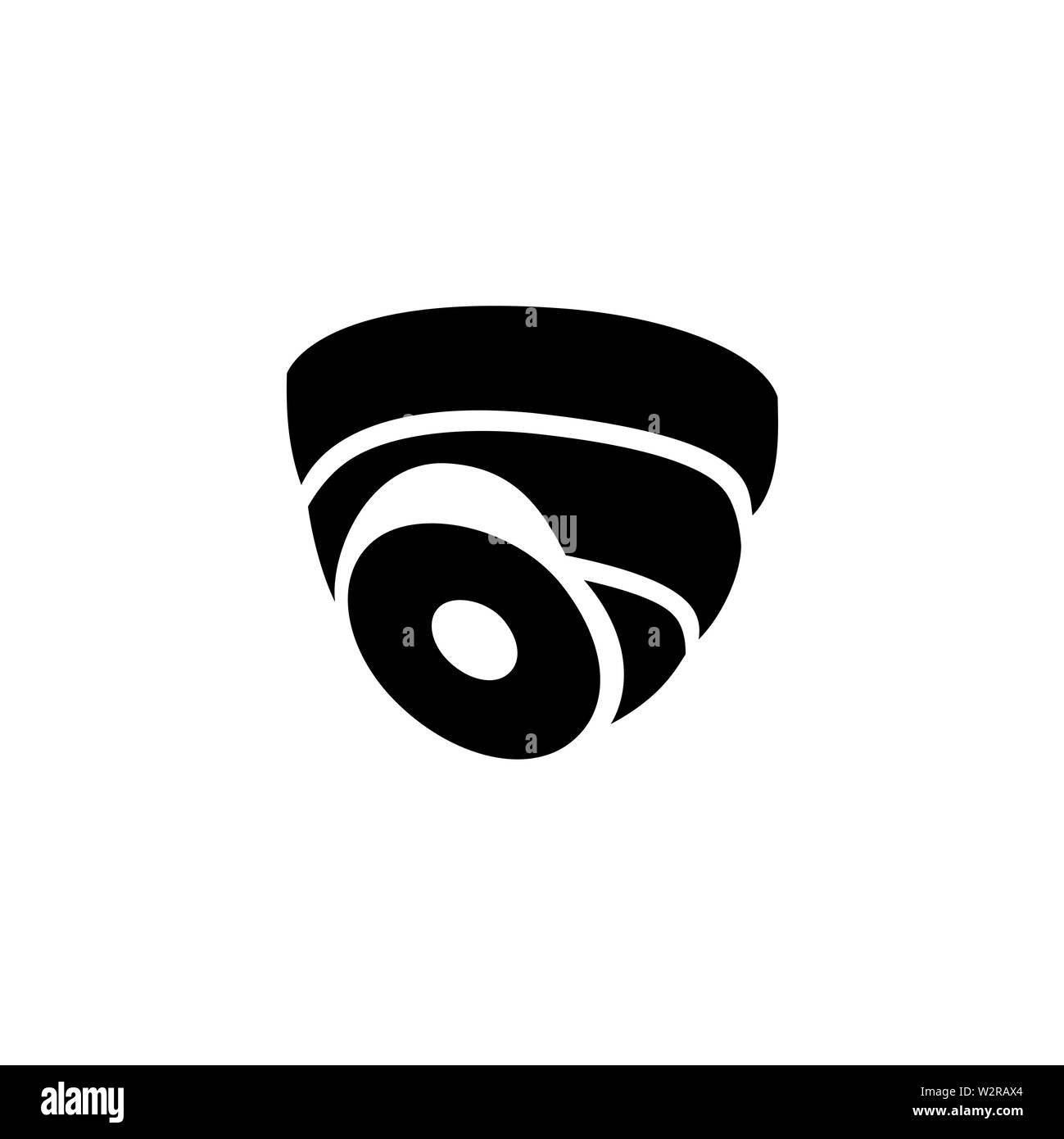 Security Camera Dome Icon In Flat Style Vector For Apps, UI, Websites. Black Icon Vector Illustration. - Stock Image