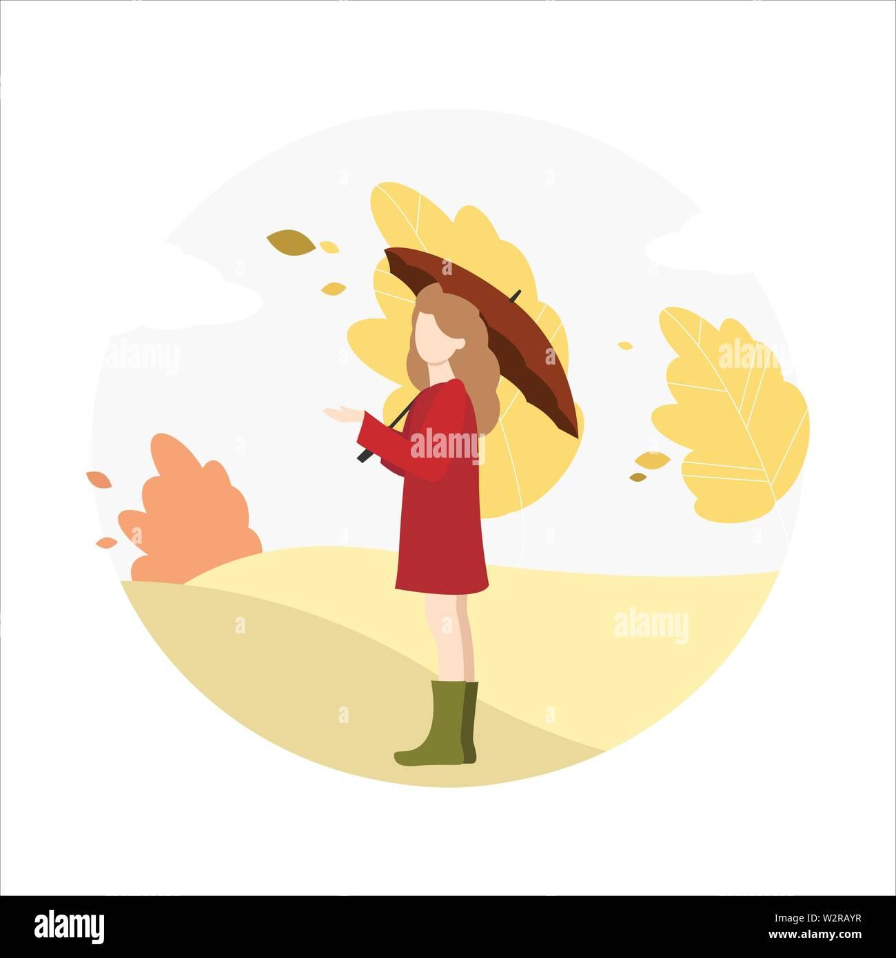 Girl walks in the park in autumn. - Stock Vector
