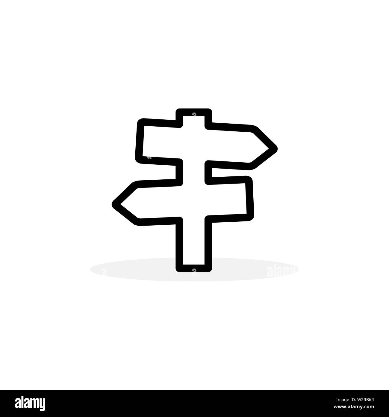 Signpost Line Icon In Flat Style Vector For Apps, UI, Websites. Black Icon Vector Illustration. - Stock Image