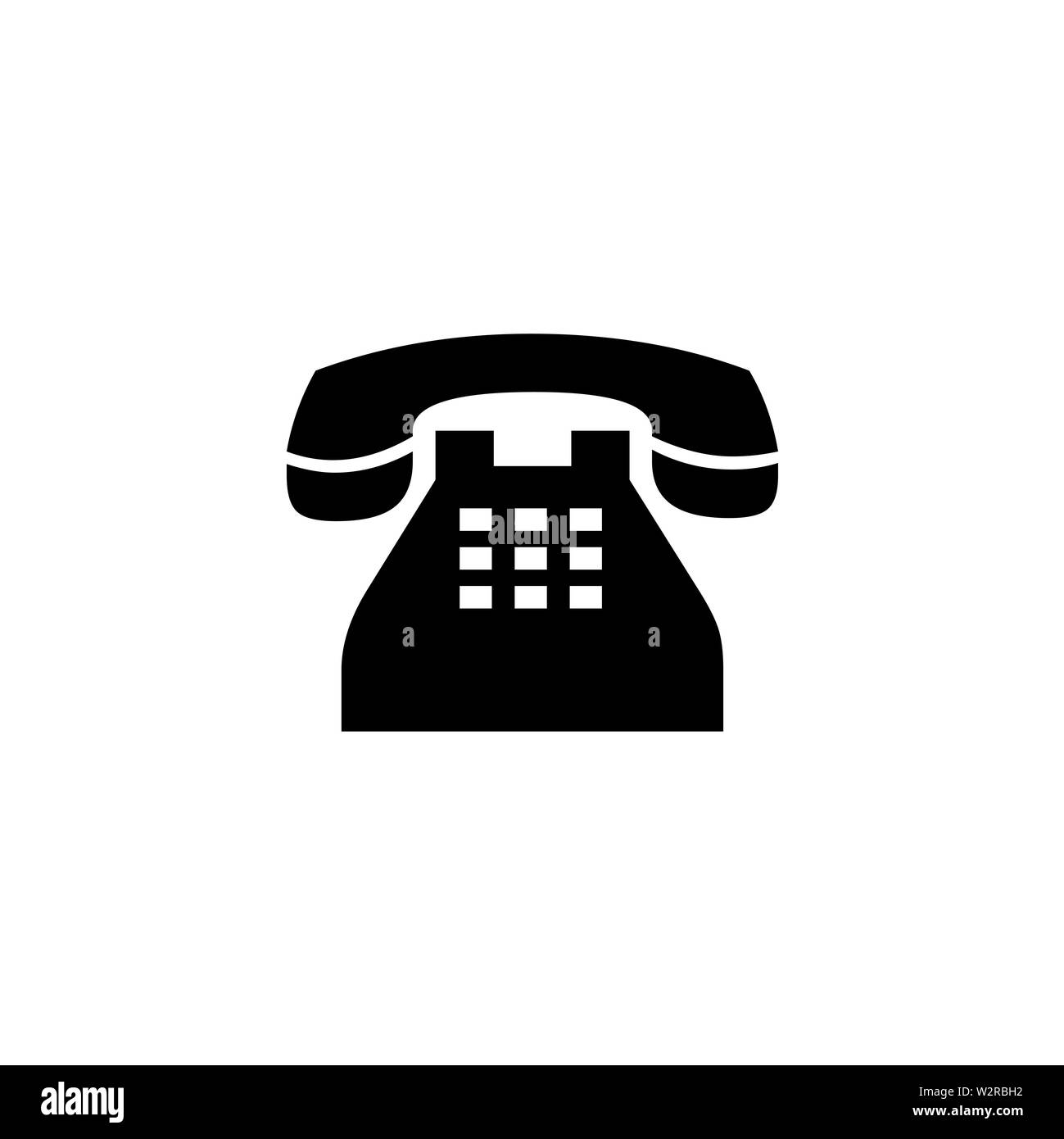Telephone Icon In Flat Style Vector For Apps, UI, Websites. Black Icon Vector Illustration. Stock Photo