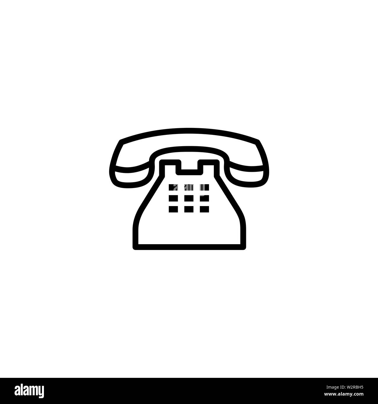 Telephone Line Icon In Flat Style Vector For Apps, UI, Websites. Black Icon Vector Illustration. Stock Photo