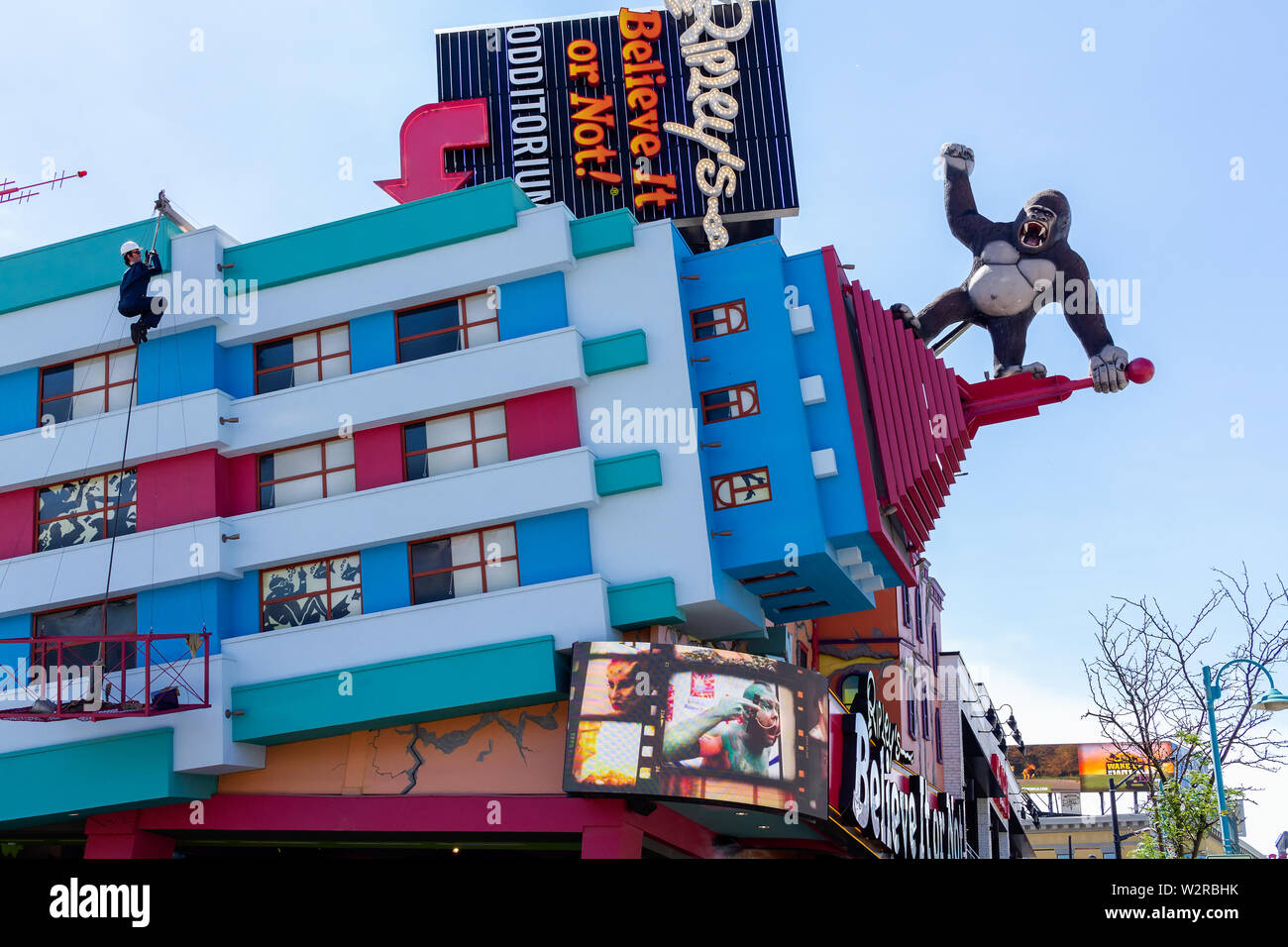 Niagara Falls, Canada - June 15, 2018: View of Clifton Hill, known as the ' Street of Fun', one of the major tourist promenades in Niagara Falls. - Stock Image