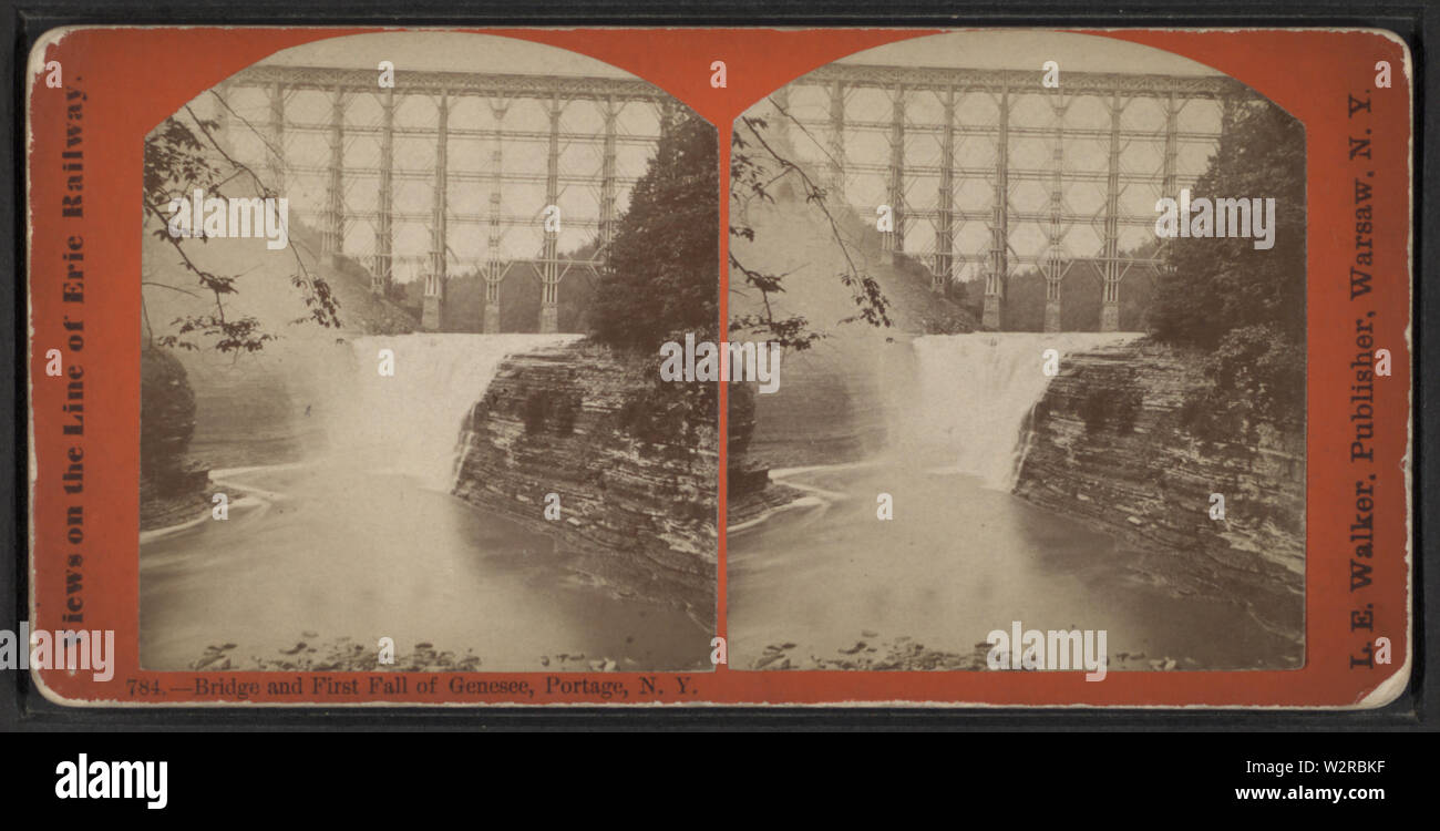 Bridge and First Fall of Genesee, Portage, NY, by Walker, L E, 1826-1916 - Stock Image