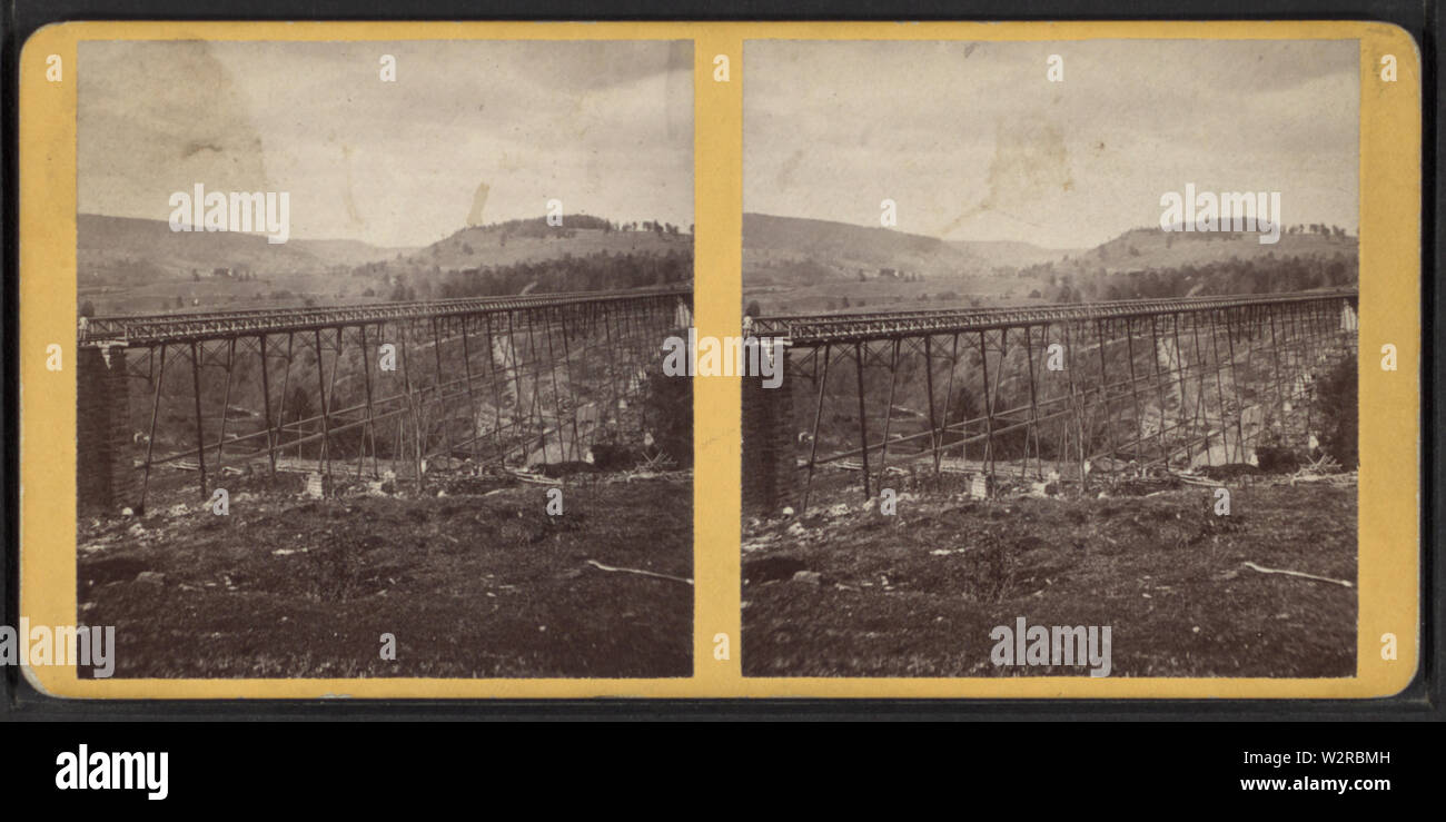 Bridge at Portage, NY, from Robert N Dennis collection of stereoscopic views 2 - Stock Image