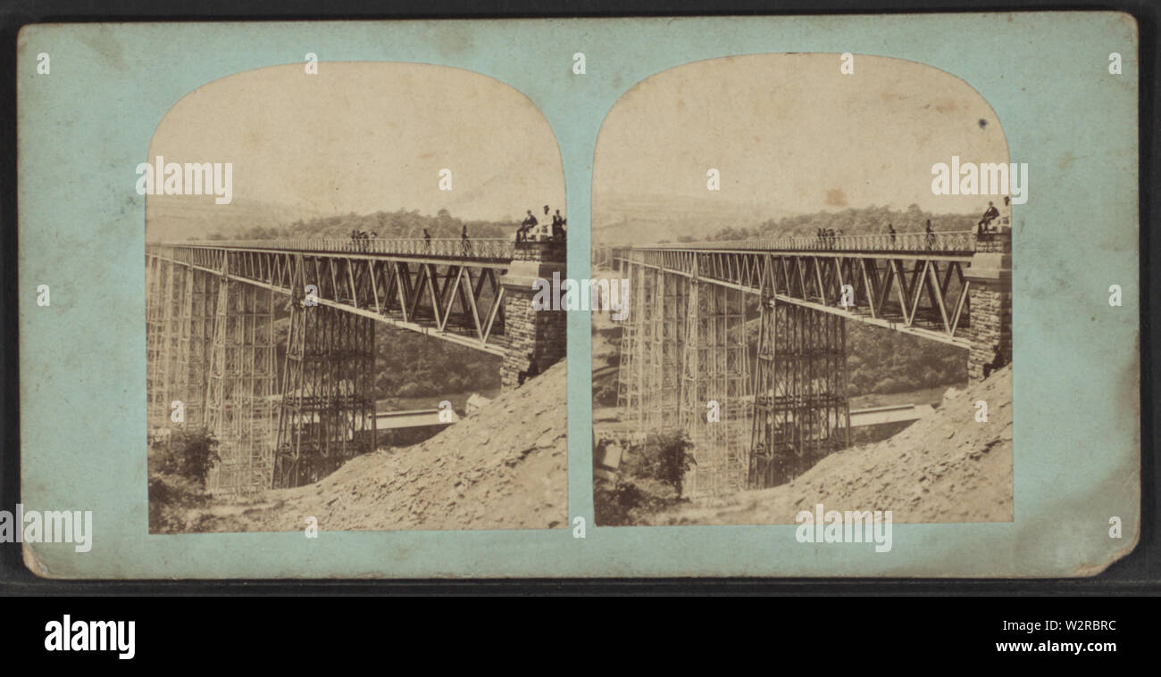 Bridge at Portage, NY, from Robert N Dennis collection of stereoscopic views - Stock Image