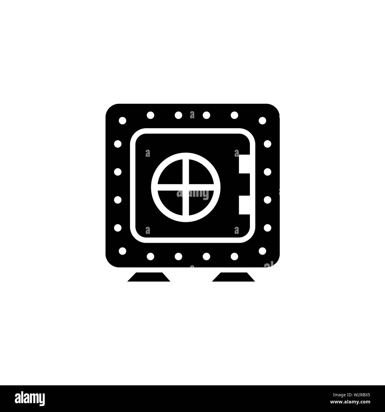 Vault Icon In Flat Style Vector For Apps, UI, Websites. Black Icon Vector Illustration. - Stock Image