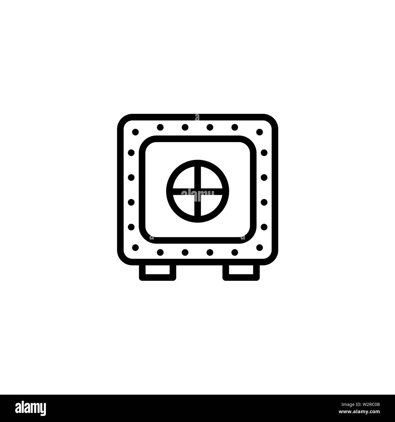 Vault Line Icon In Flat Style Vector For Apps, UI, Websites. Black Icon Vector Illustration. - Stock Image