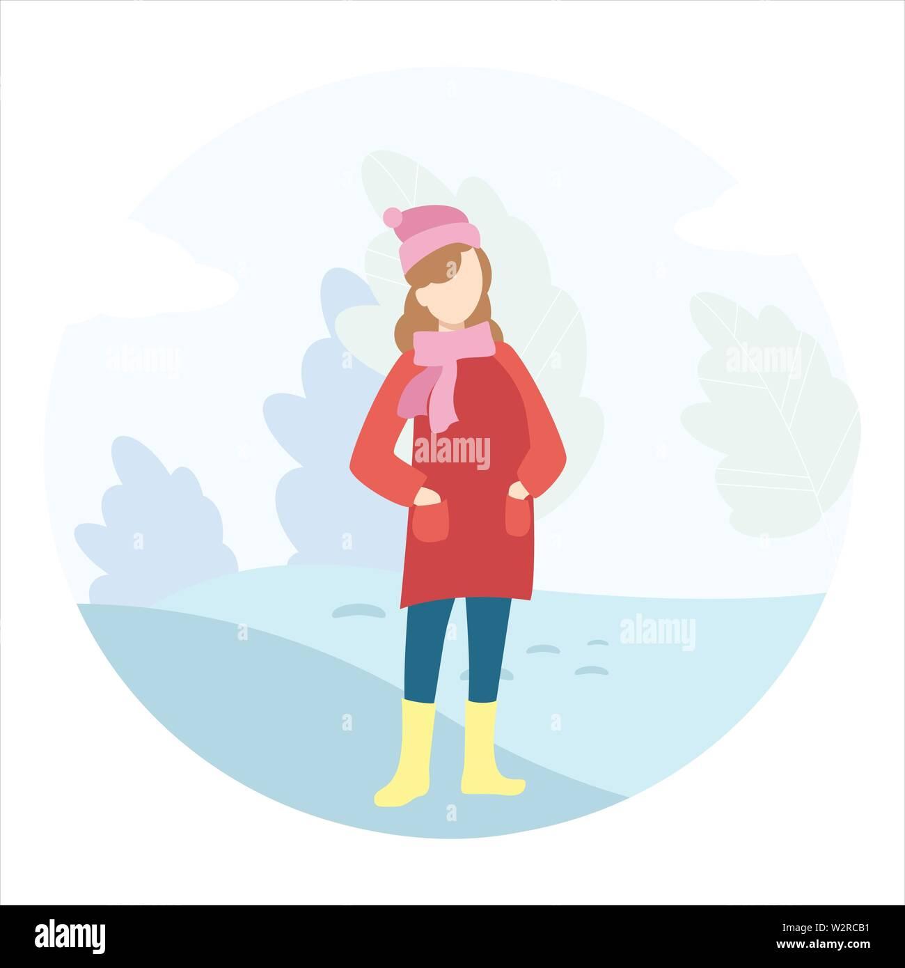 Girl walks in the winter in the park. - Stock Vector