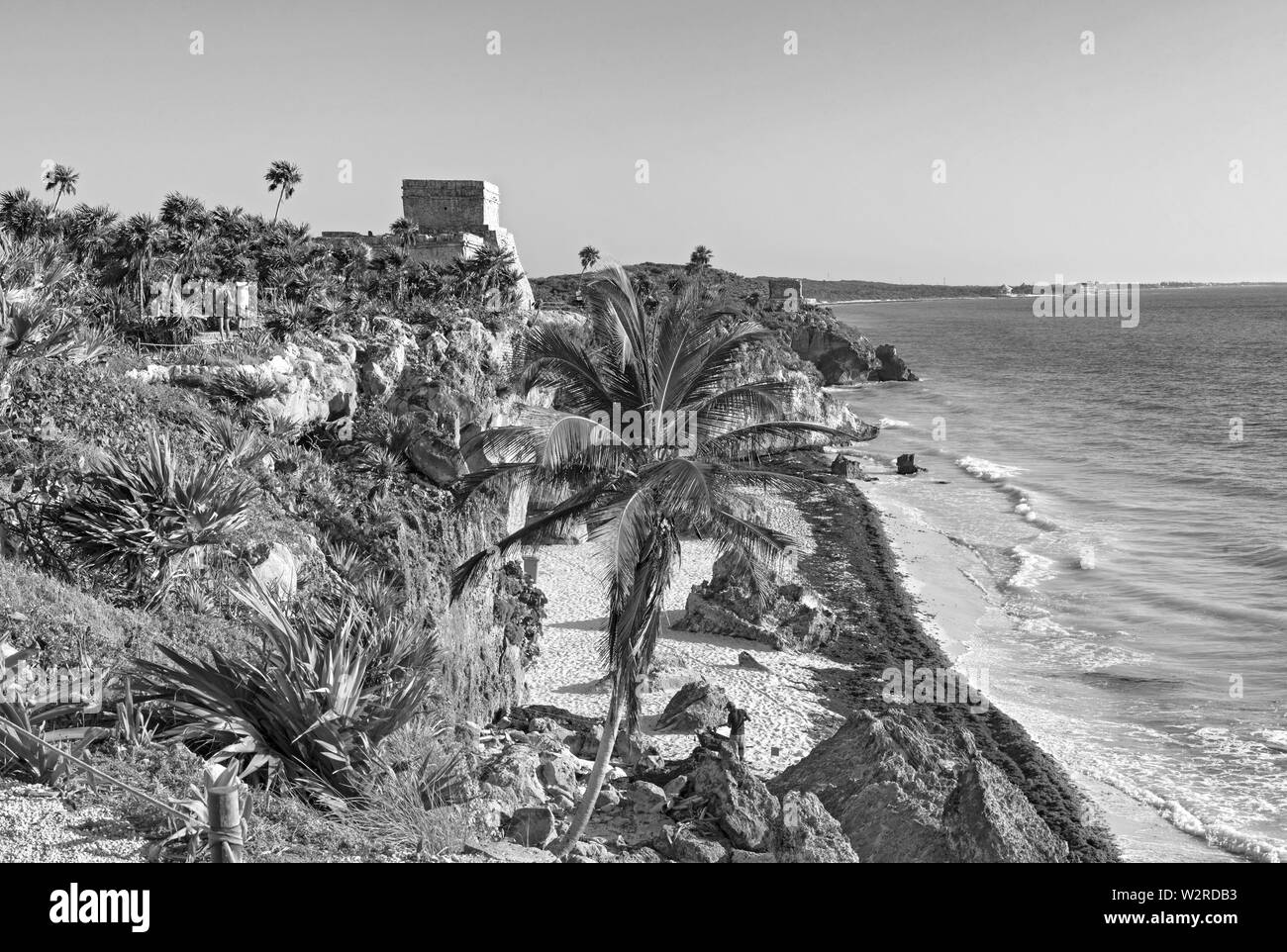 ruins of the mayan city tulum, quintana roo, mexico in black and white - Stock Image