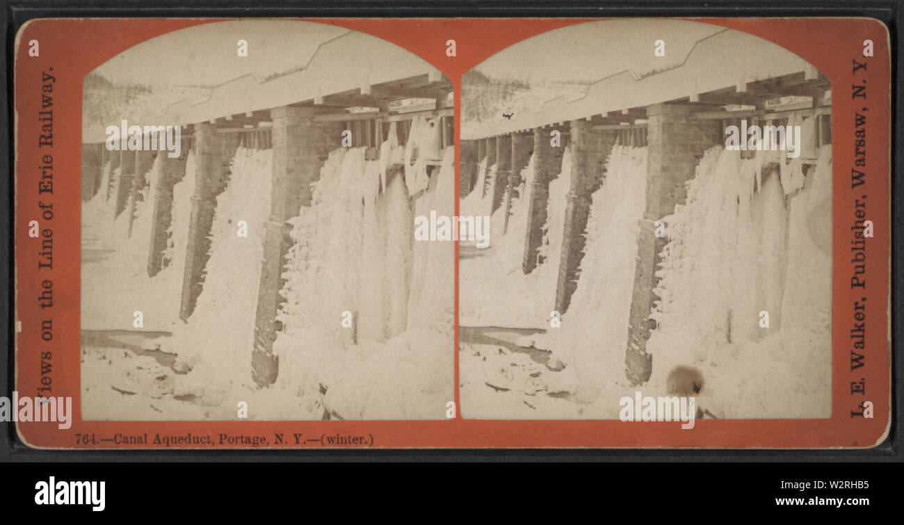 Canal Aqueduct, Portage, NY (winter), by Walker, L E, 1826-1916 - Stock Image