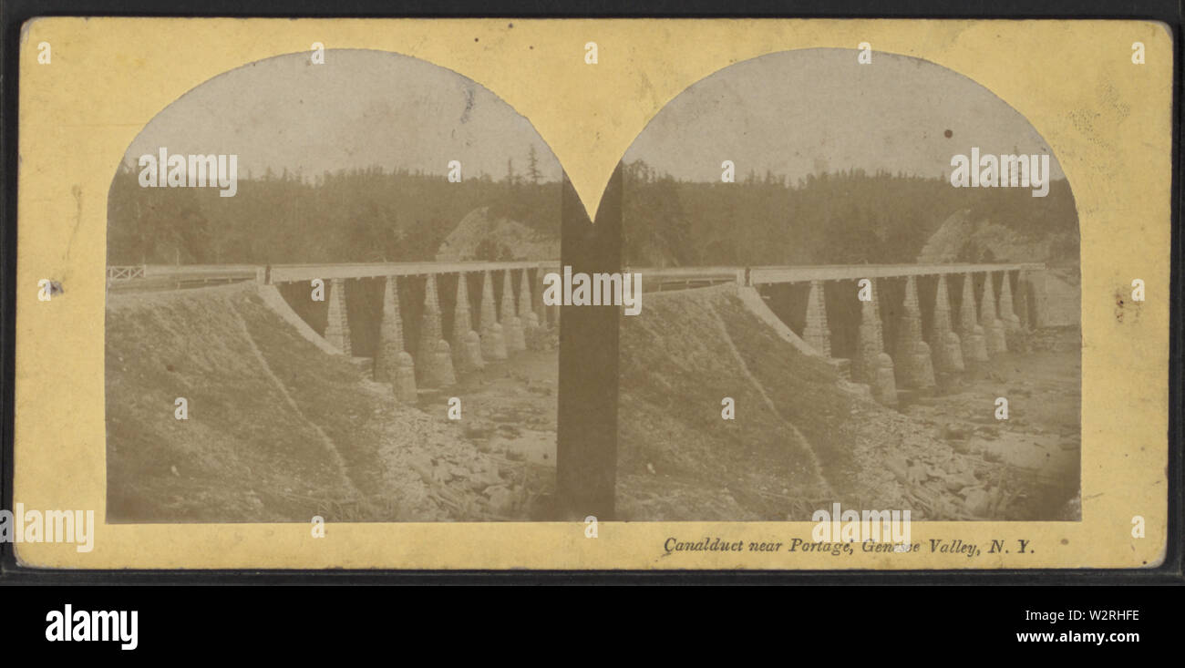 Canalduct near Portage, Genesee Valley, NY, from Robert N Dennis collection of stereoscopic views - Stock Image