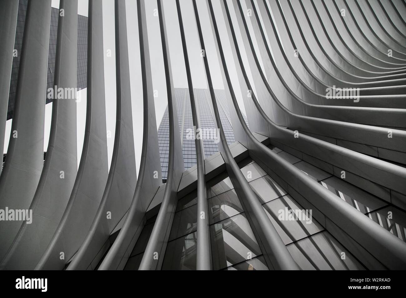 A beautiful black and white upshot of New York City Subway's WTC Cortlandt station also known as Oculus - Stock Image