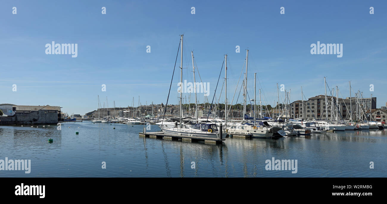 Plymouth Sutton Harbour, inner basin, yachts at rest in a safe haven. Seen from North Quay _Panorama - Stock Image
