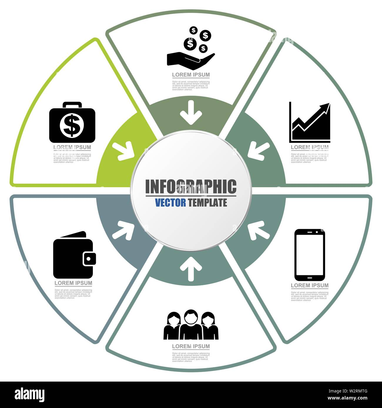Infographic vector template for presentation, chart, diagram business concept with 6 options - Stock Image