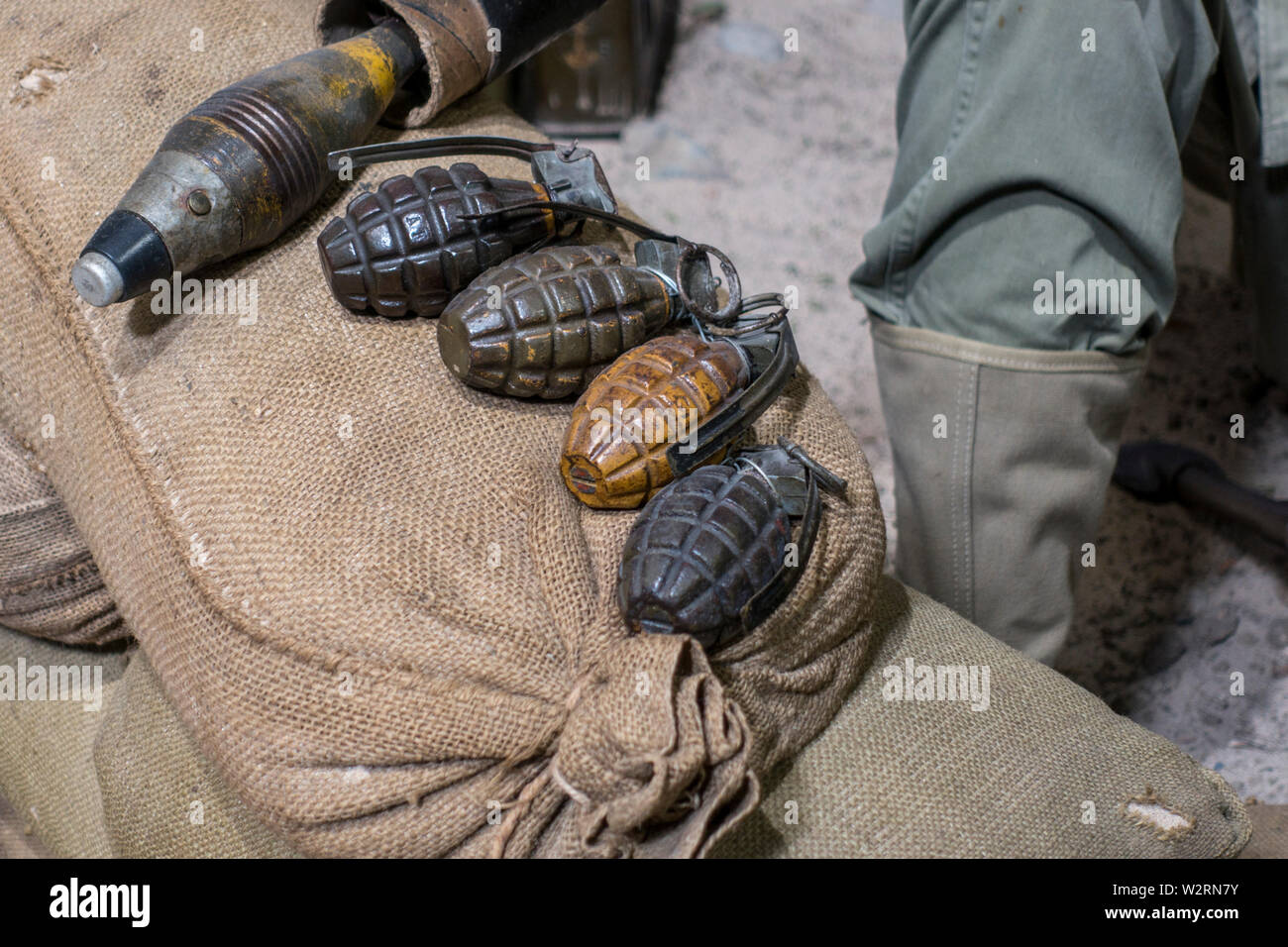 WW2 Mk 2  / Mk II grenades, fragmentation type anti-personnel hand grenade used by the American army during the Second World War - Stock Image