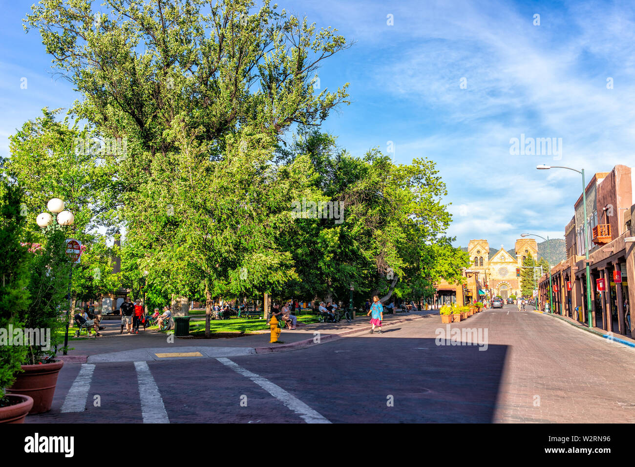 Old Town Santa Fe >> Santa Fe Usa June 14 2019 Old Town Street And Plaza Park In