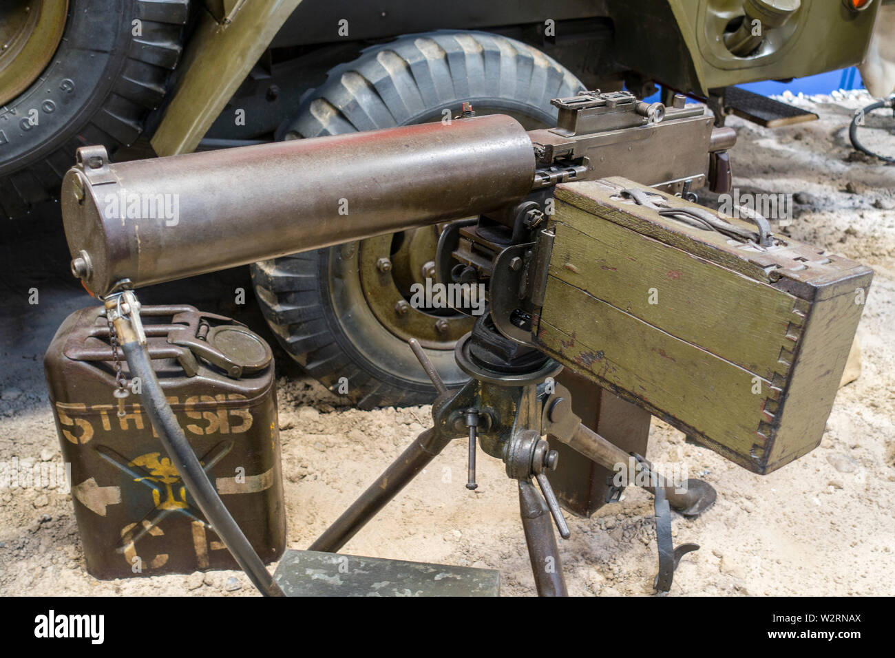 World War Two water-cooled M1917A1 / M1917 A1 Browning machine gun mounted on tripod, used by the United States Armed Forces during WW2 - Stock Image