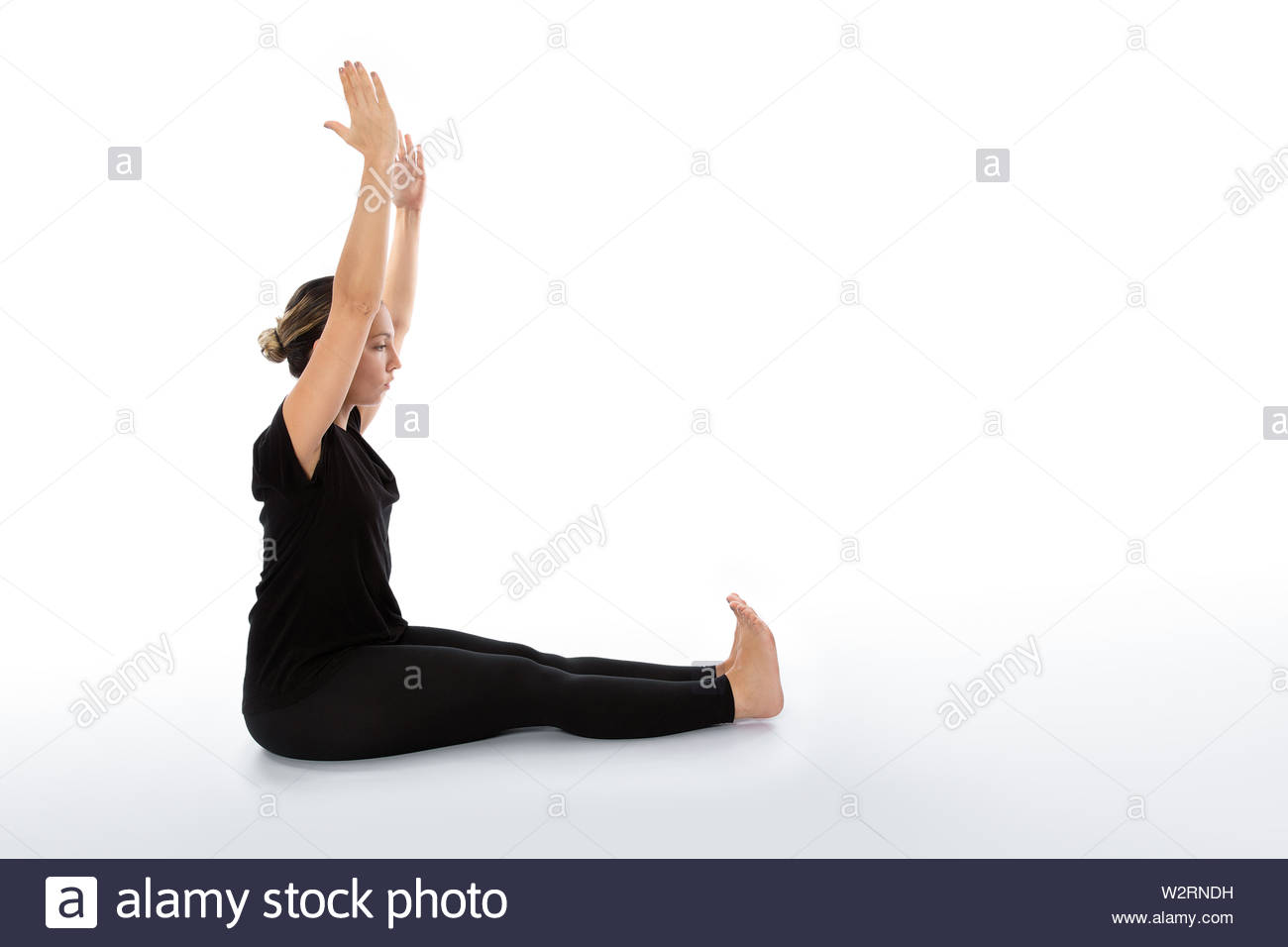 Yoga poses woman isolated with white background. Yoga pose set. Mindfulness and Spiritually concept. Girl practicing Hatha Yoga asanas. - Stock Image