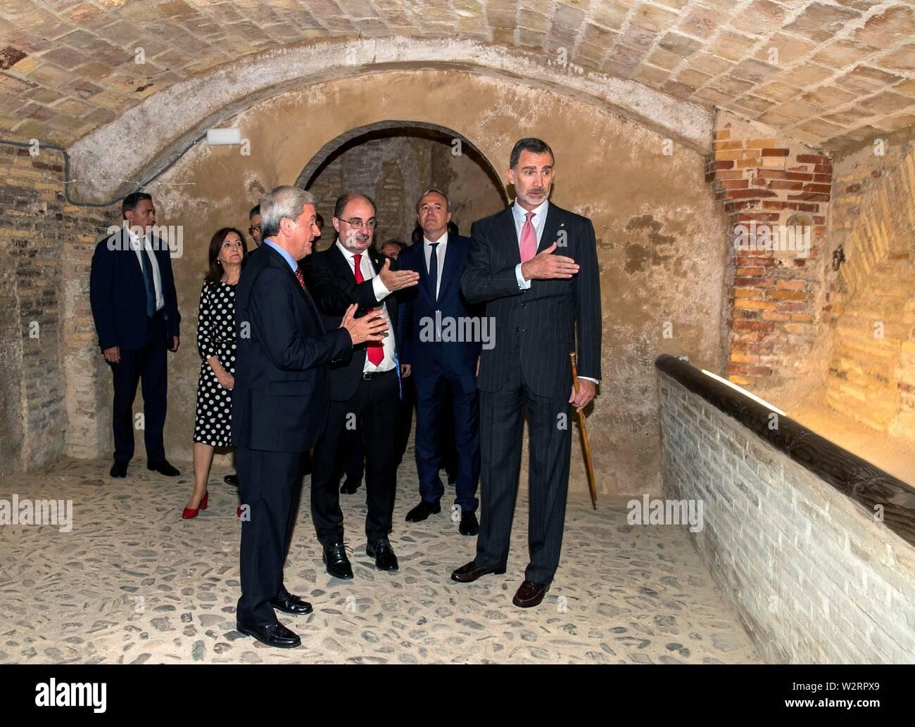 Spanish King Felipe VI (R) visits the Real Maestranza de Caballeria of Zaragoza Palace in Zaragoza, Spain, 10 July 2019, on occasion of the 200th anniversary of his creation. EFE/ Javier Cebollada/**POOL** - Stock Image