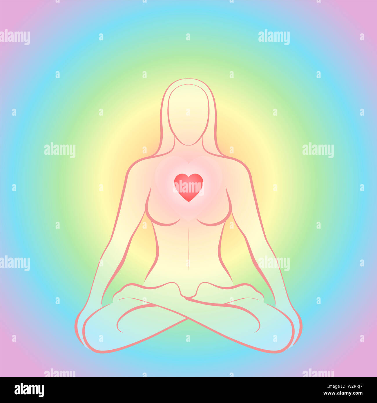 Meditating zen woman in lotus position with glowing red heart chakra on rainbow colored circular background. - Stock Image