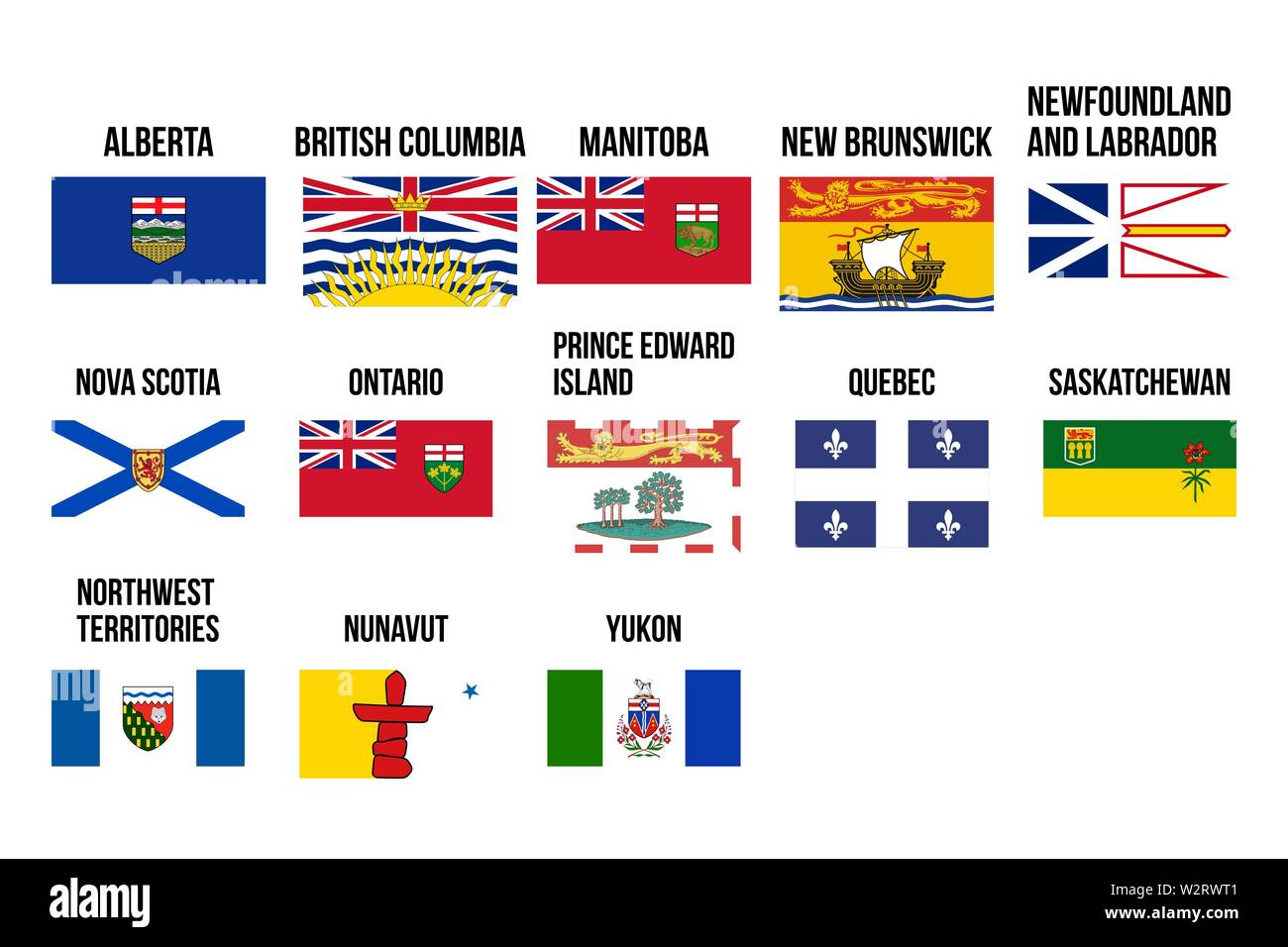 Vector flags of provinces and territories of Canada. Vector illustration. Ottawa, Toronto, Vancouver - Stock Image