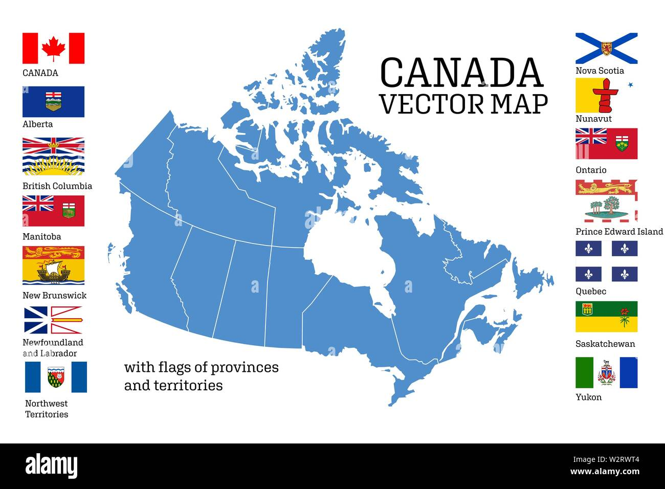 Canada map with flags of provinces and territories. Vector ...