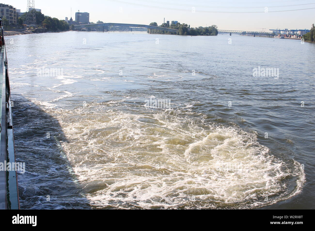 View from the Rhein river in Mainz - Stock Image