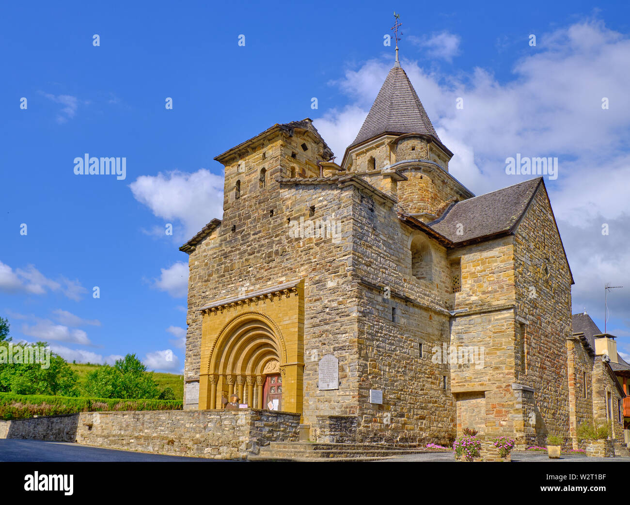 Church of St Blaise Hospital in Pyrenees Atlantique region of France with blue sky background - Stock Image