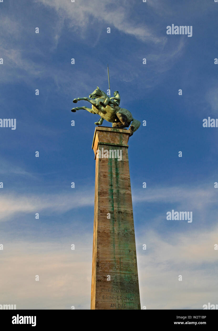 dusseldorf, nrw / germany - december 29, 2012: the lancer monument ( ulanendenkmal ) of 1929 at the embankment of river rhine at joseph-beuys-ufer - Stock Image