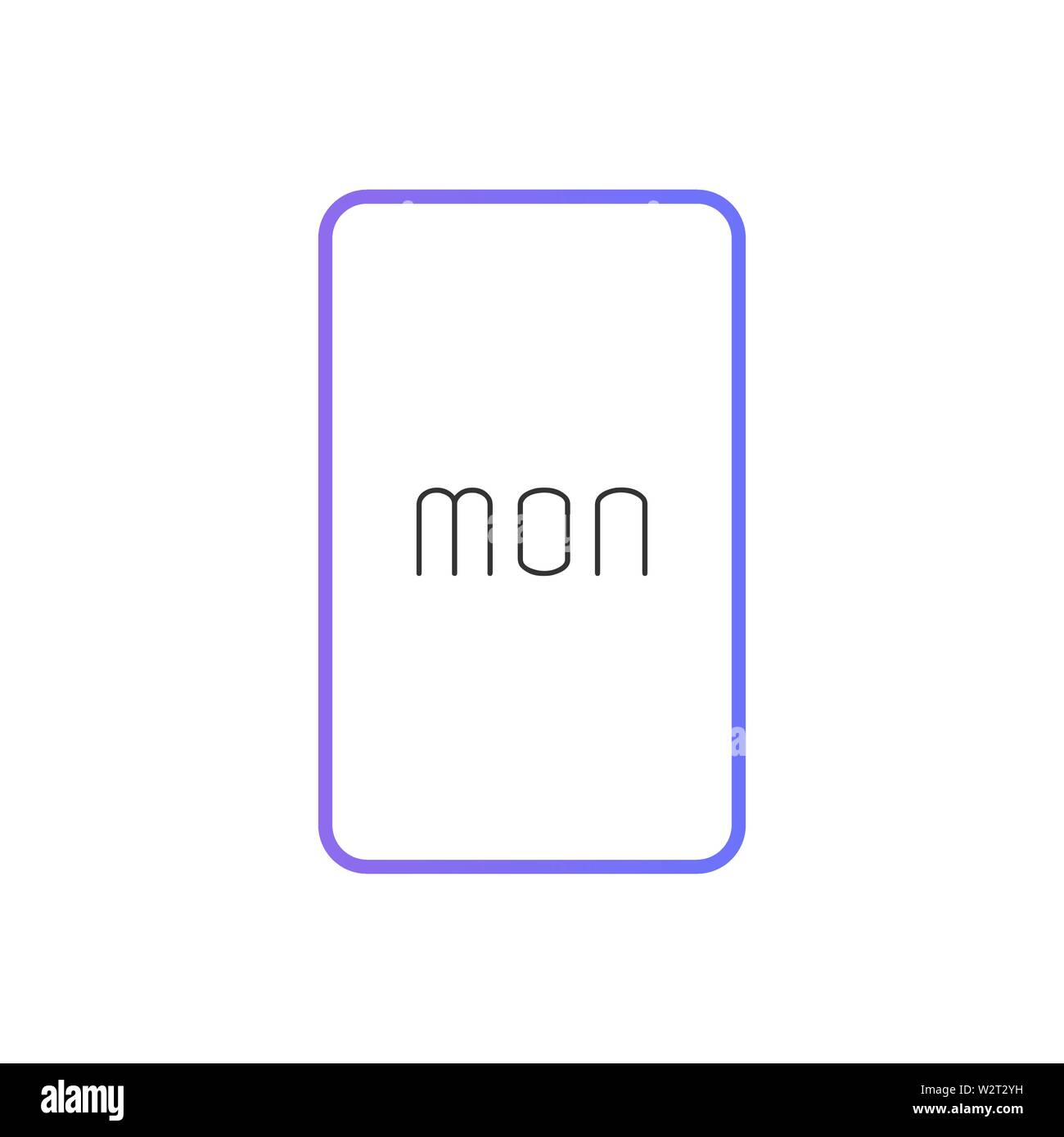 Button displays Monday in a modern style. Vector illustration. Stock Vector