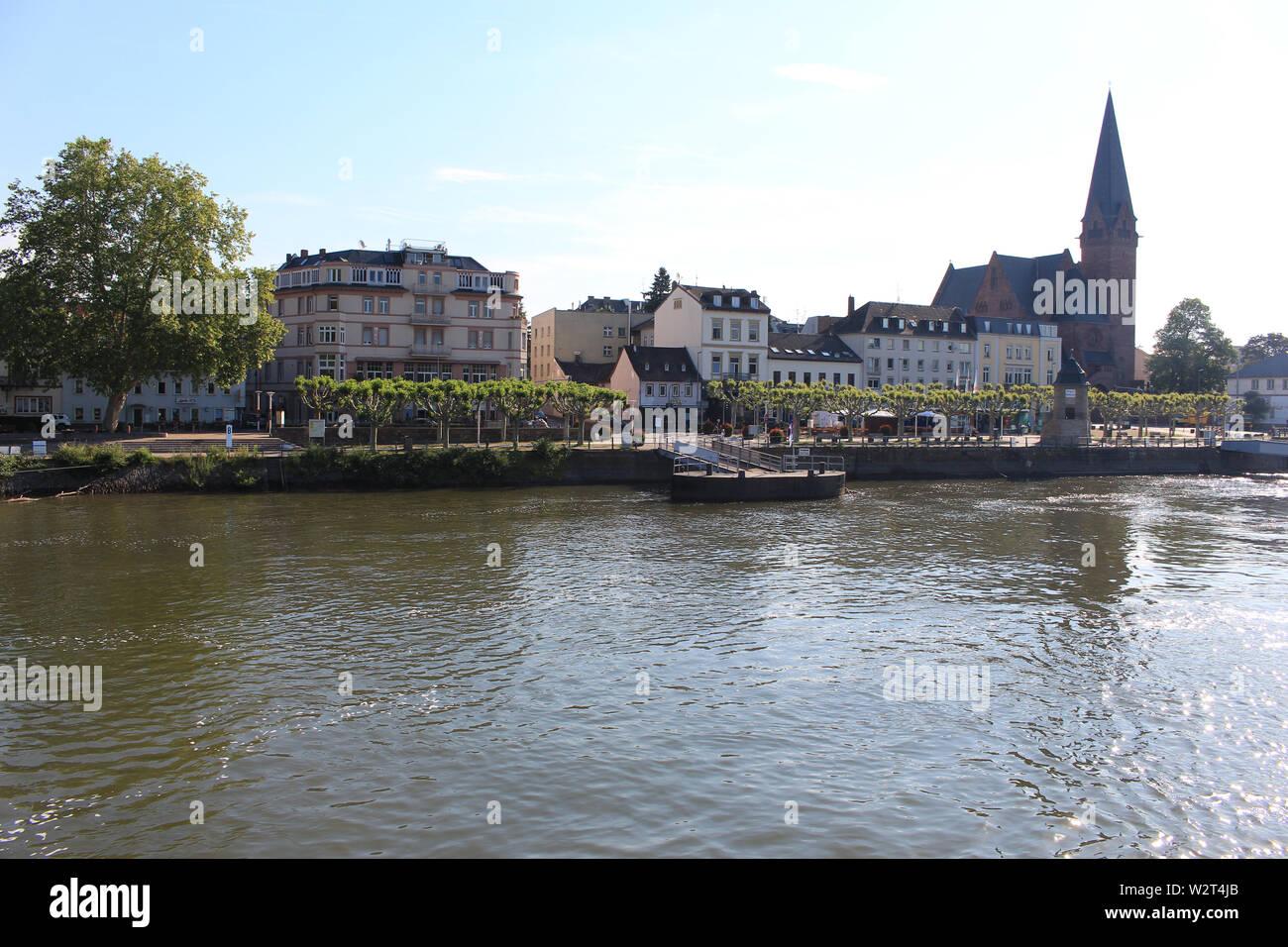 View on Biebrich from Rhein river - Stock Image