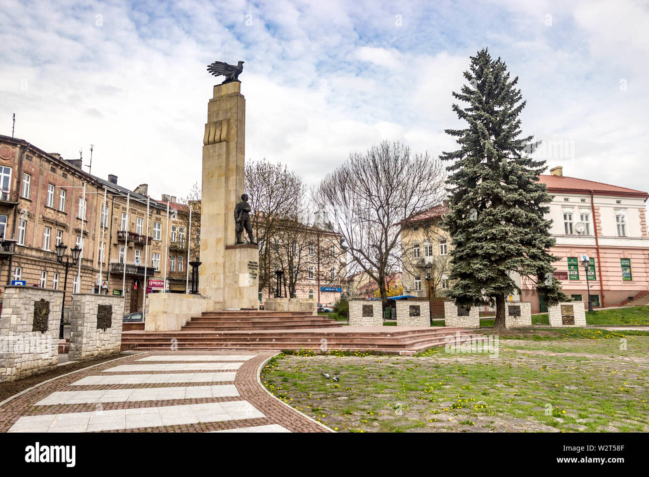 Przemysl, Poland, - April 13, 2019. The Monument of Przemysl Eaglets commemorates young soldiers who defended the city against Ukrainian and Russian a - Stock Image