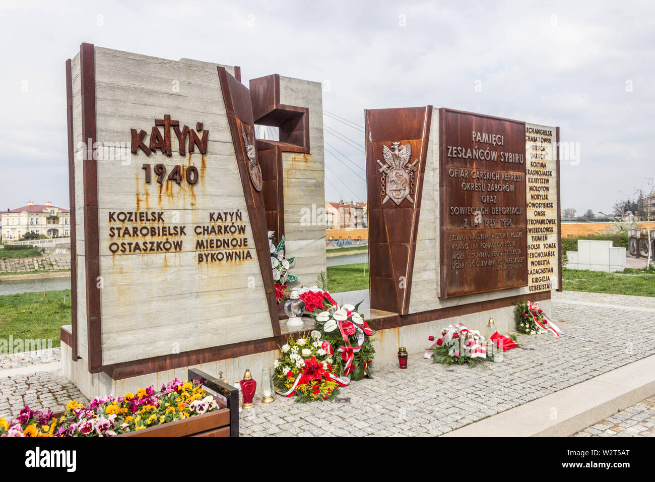 Przemysl, Poland, - April 13, 2019. The monument in memory of shooting at Katyn in 1940. Mass executions of Polish military officers and intelligentsi - Stock Image