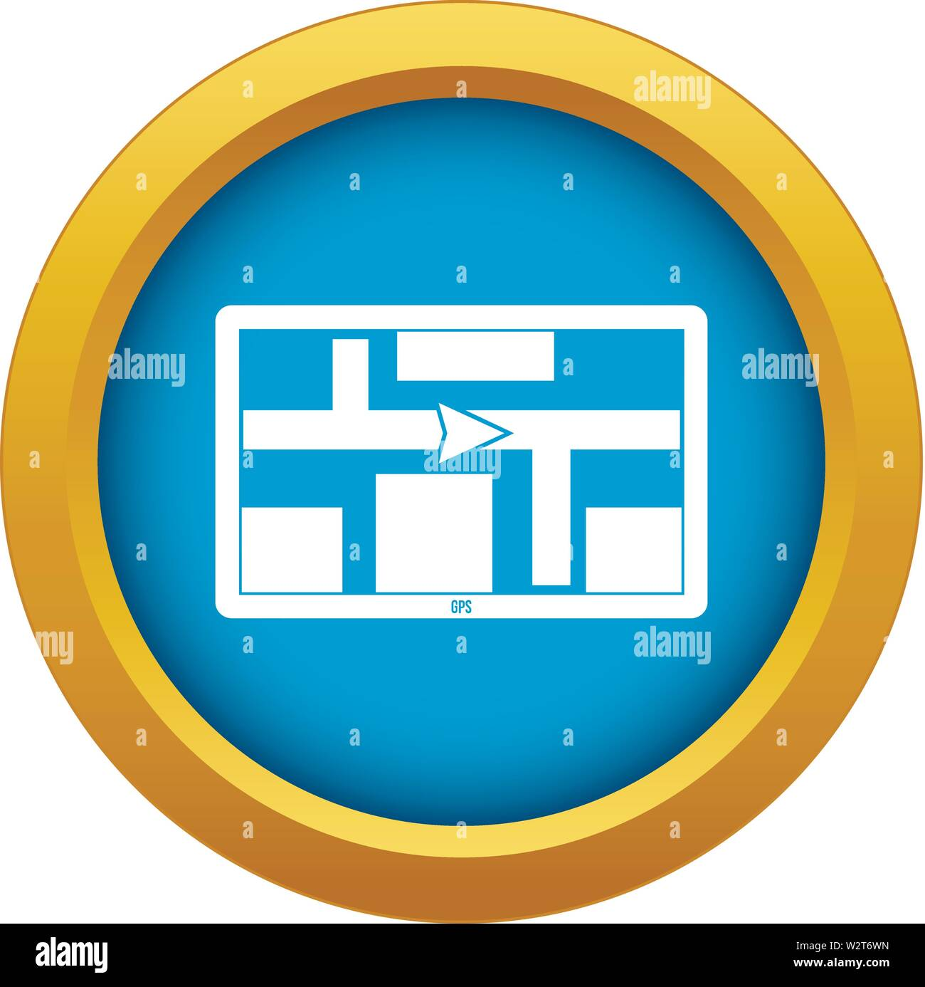 GPS navigation icon blue vector isolated - Stock Image