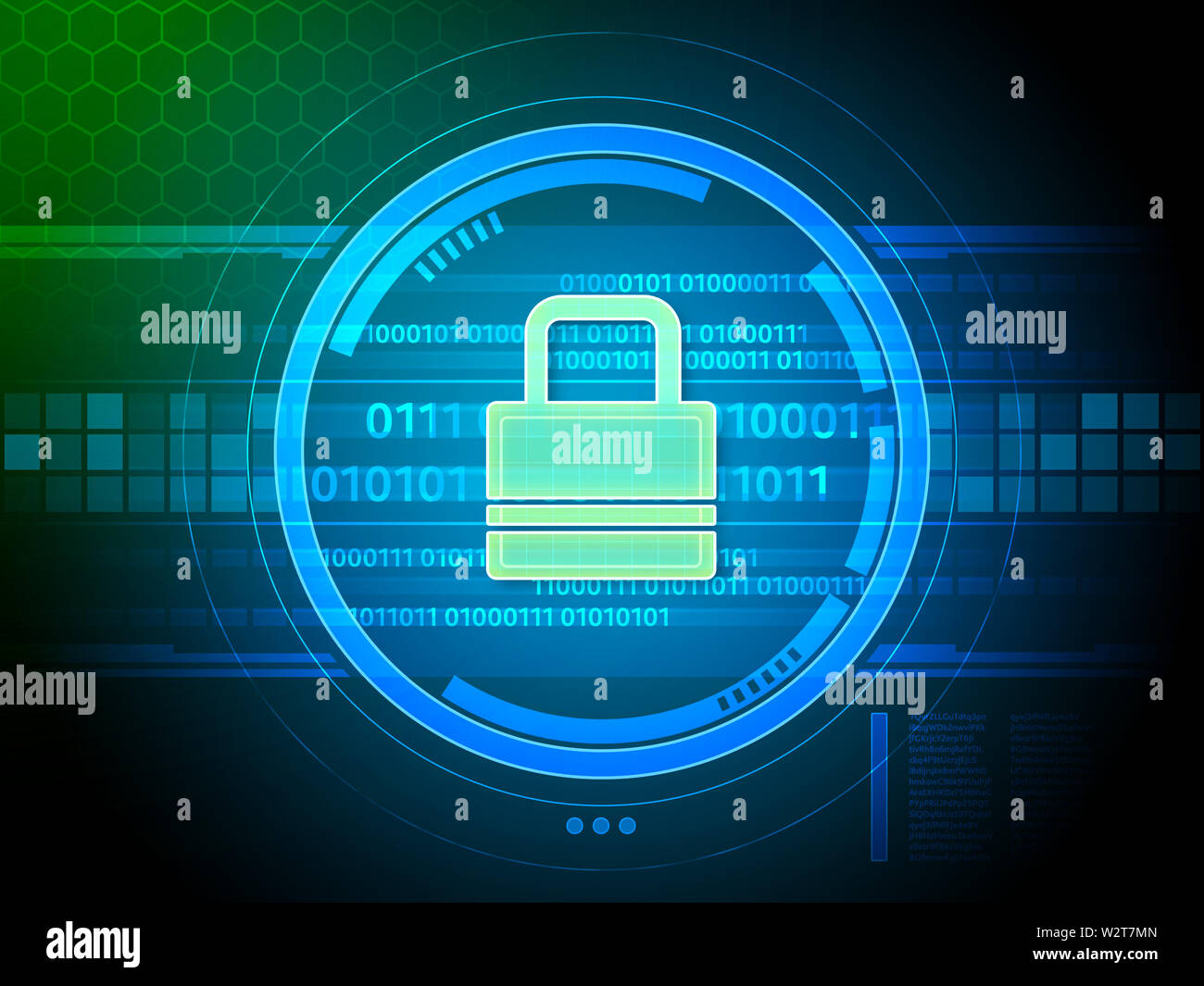 Security lock protecting a data stream. Digital illustration. - Stock Image