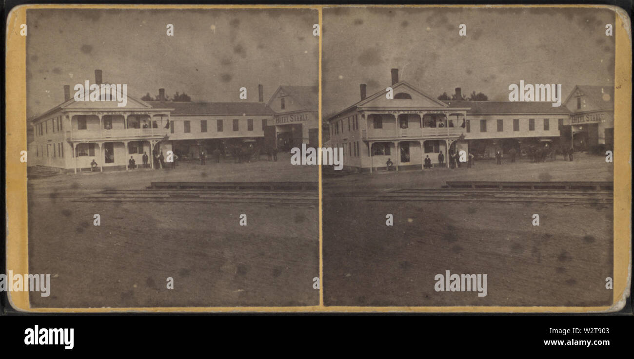 Dayville hotel and its stables, from Robert N Dennis collection of stereoscopic views - Stock Image