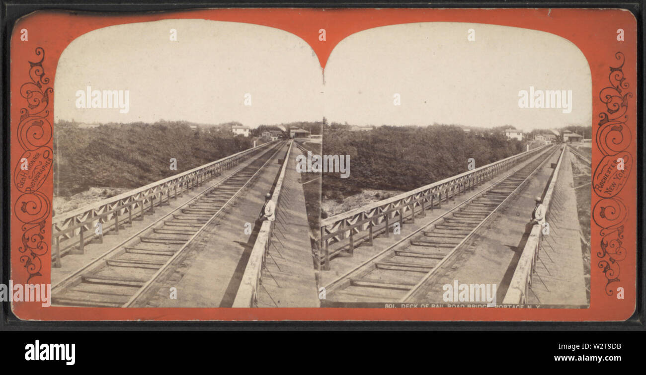 Deck of rail Rail Road Bridge, Portage, NY, by Monroe, George H --(Hibbard), 1851-1916 - Stock Image