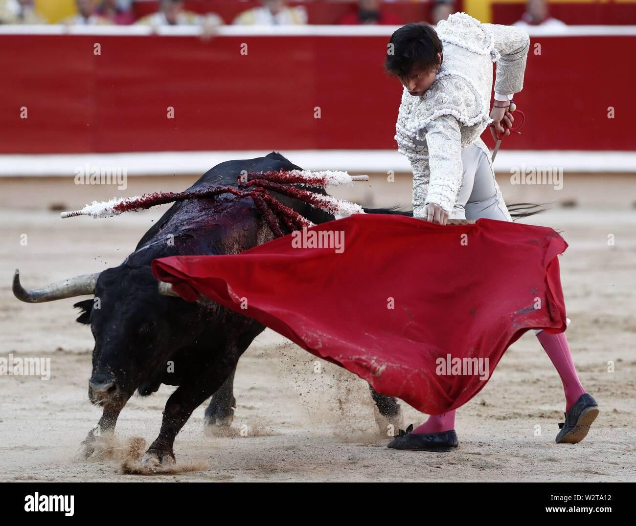 Pamplona, Spain  10th July, 2019  Peruvian bullfighter Andres Roca