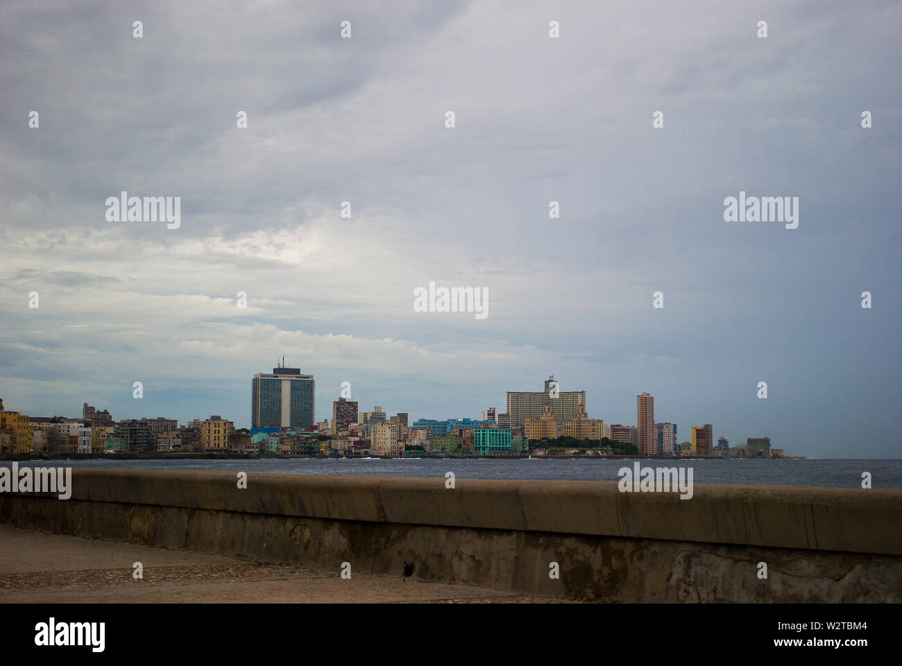 Havana - Cuba / October 16 2011, Panoramic view of Havana in the distance with colorful buildings on the coastline, at 50 year anniversary of Castro's - Stock Image