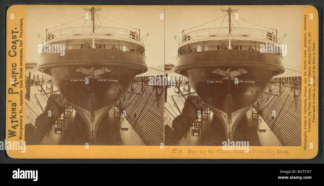 Docking the China, Hunter's Point Dry Dock, from Robert N Dennis collection of stereoscopic views - Stock Image
