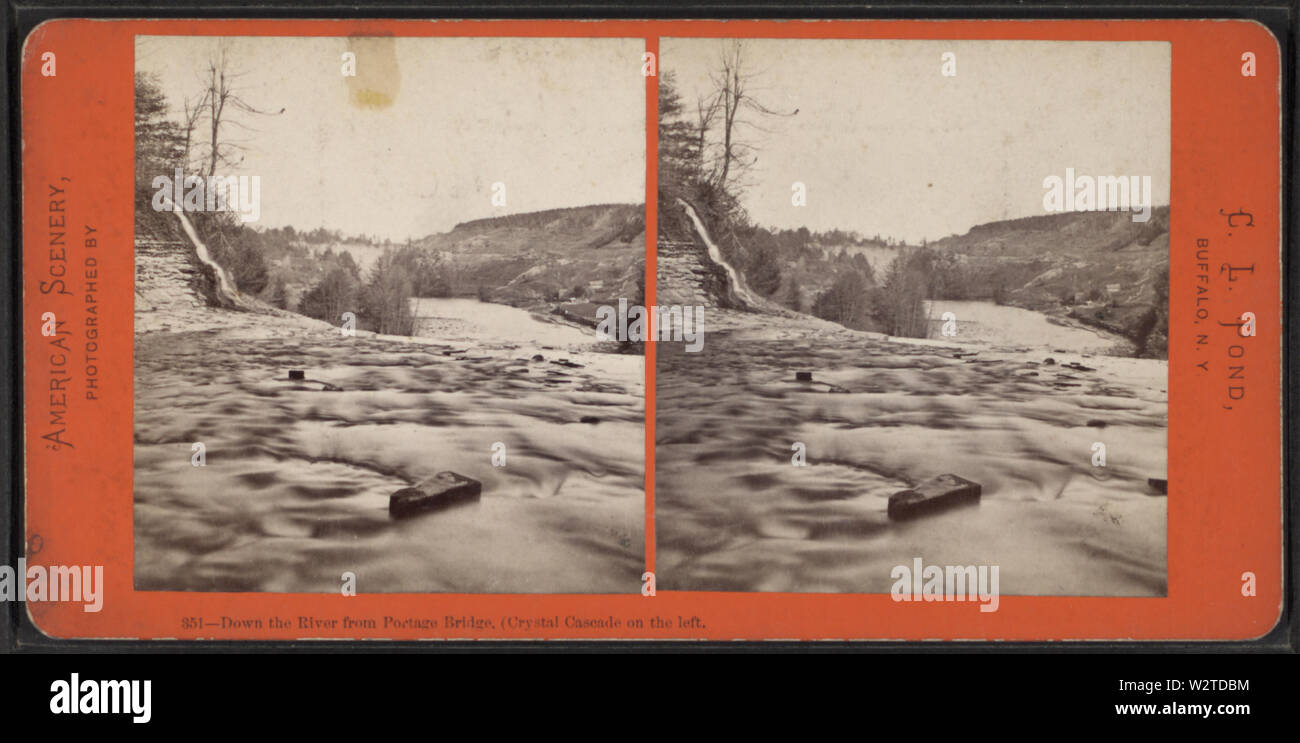 Down the River, from Portage Bridge, Crystal Cascade on the left, by Pond, C L (Charles L) - Stock Image