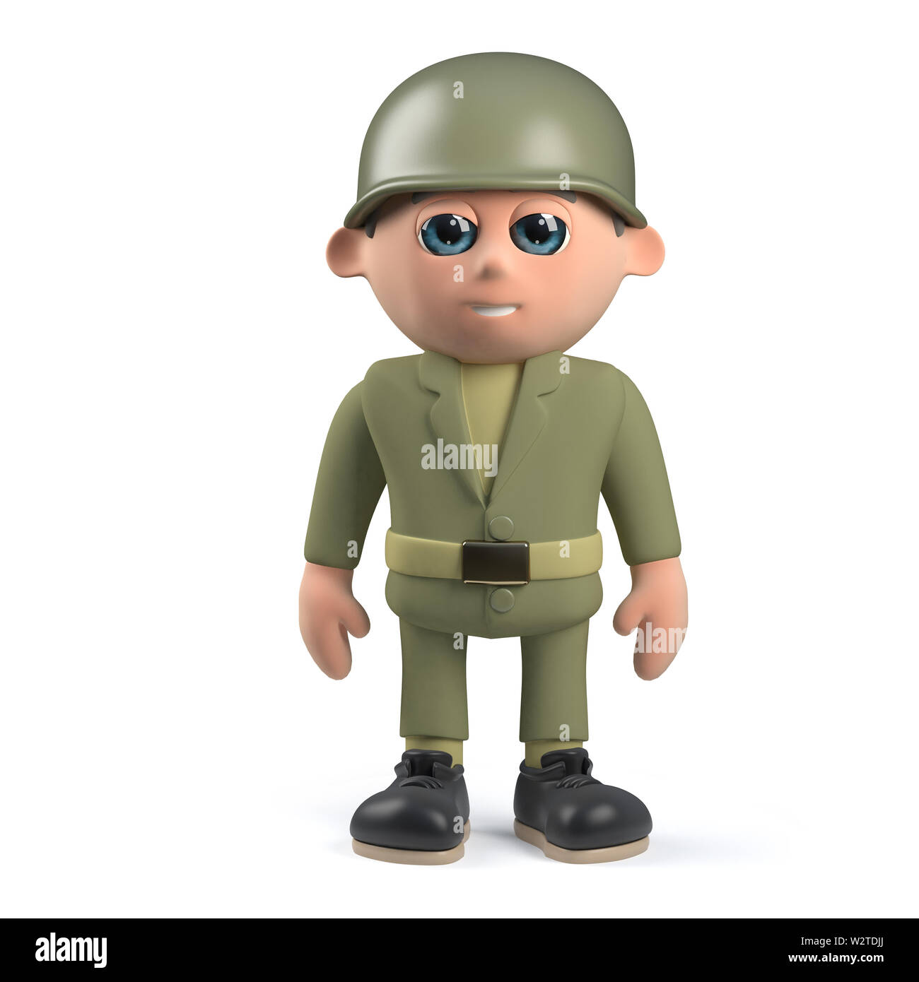 Render of a 3d Army soldier standing to attention - Stock Image