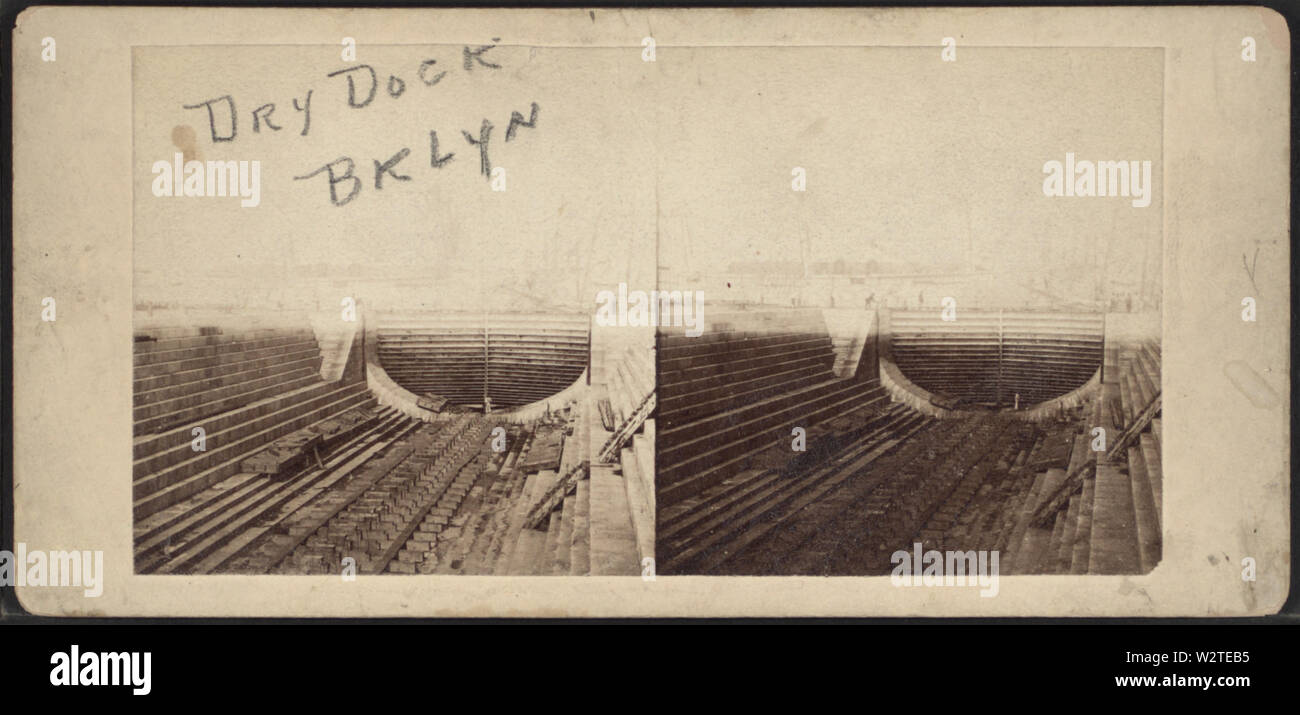 Dry dock, Brooklyn, from Robert N Dennis collection of stereoscopic views - Stock Image