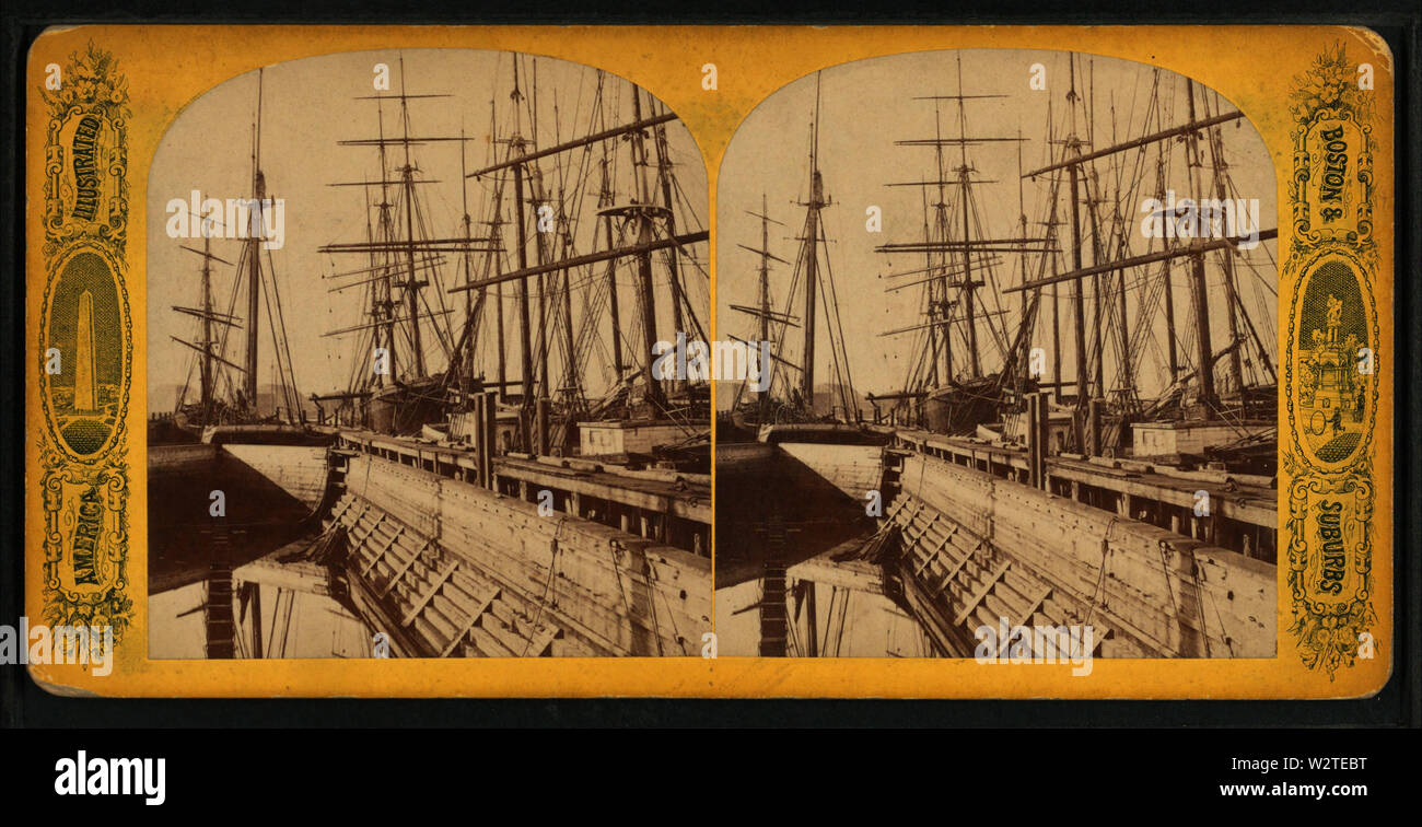 Dry dock, from Robert N Dennis collection of stereoscopic views - Stock Image