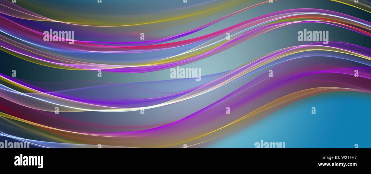 Fantastic elegant wave panorama background design illustration - Stock Image