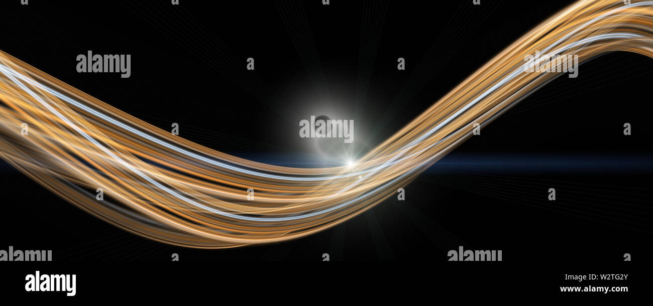 Futuristic wave panorama background design with lights - Stock Image