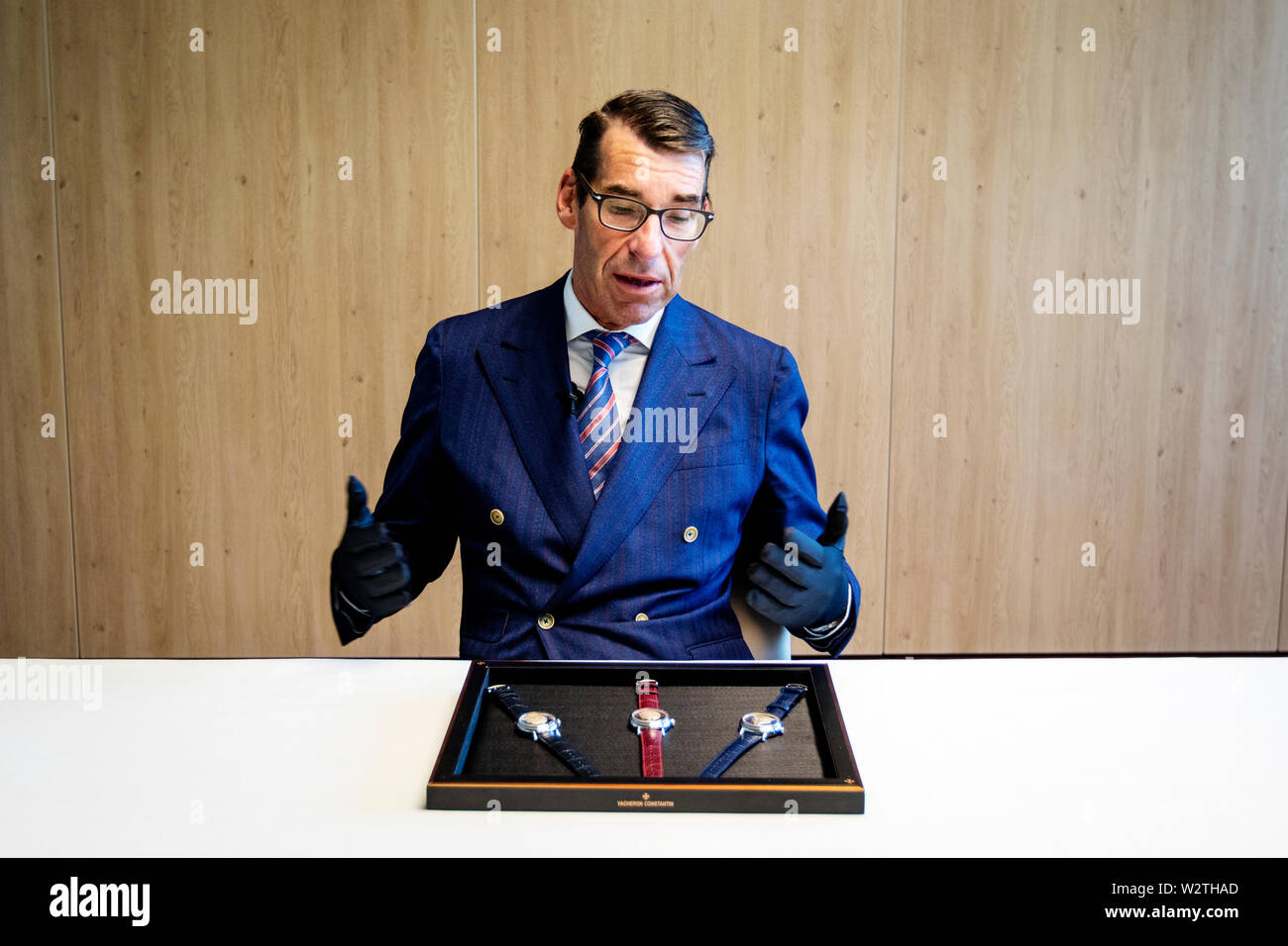 Christian Selmoni, in charge of 'style and heritage' at the Vacheron Constantin watch maker. Vacheron Constantin is one of the oldest watch manufacturers in the world, and also one of the most exclusive. - Stock Image