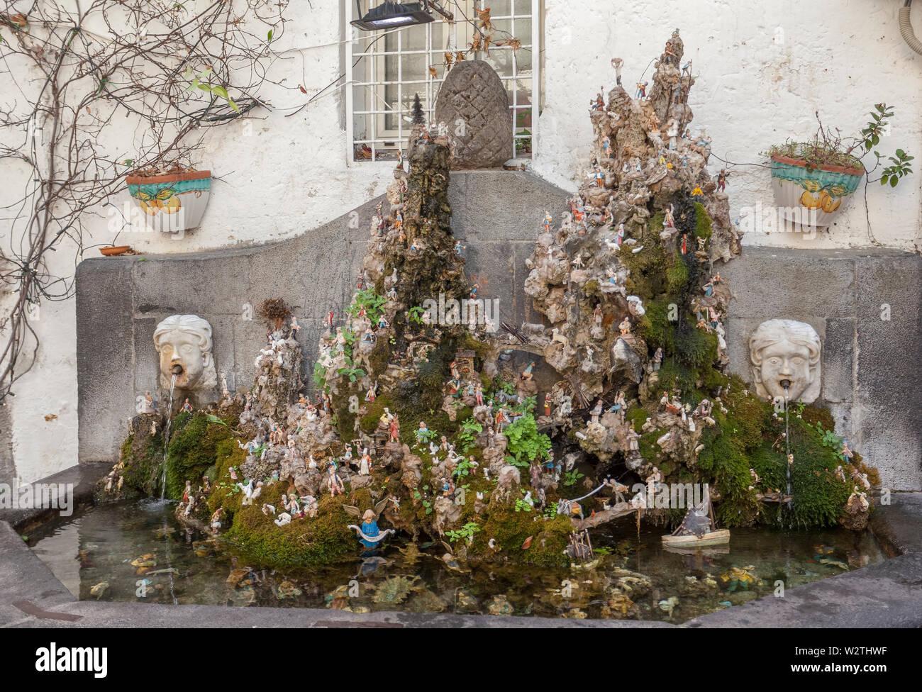 Amalfi creche and fountain. In the Amalfi city centre, CostieraAmalfitana, Amalfi Coast, Salerno, Campania, Italy - Stock Image